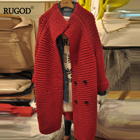 RUGOD 2018 Autumn Winter Korean Women Fashion And Elegant Cardigans Sweater All purpose Casual Button Twist Long Knitted Sweater