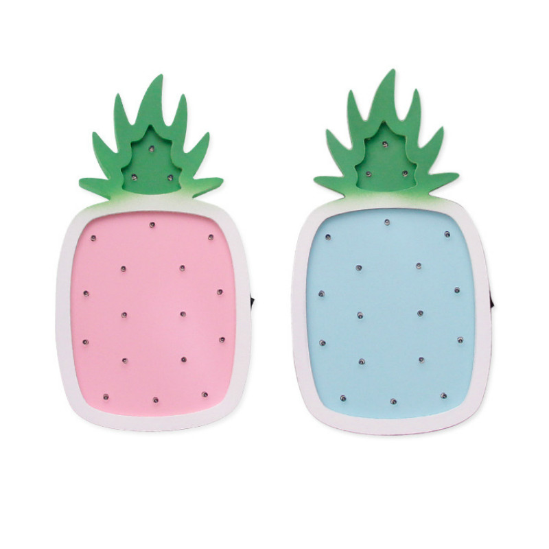 3D Pineapple Cartoon Wooden Ornament Night Lights Pineapple LED Night Lamp For Baby Kid Room Decoration Children Gift IY304123-3