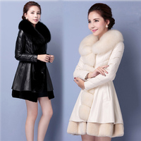 Blanco Y Negro Largo Faux Fox Fur Coat Invierno de Las Mujeres chaqueta Delgada de Visón Chaquetas de Invierno Para Mujer Veste Fourrure Abrigo Pelo Mujer