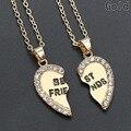 Новинка 1 пара, полустразы в форме сердца, любовь, кулон ожерелье лучшие друзья, подарок для дружбы