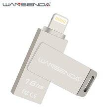 2 pcs/lot Wansenda 3 in 1 OTG USB Flash Drive usb 2.0 Pen drive for iOS 16gb usb flash stick pendrive for iPhone/Android phones