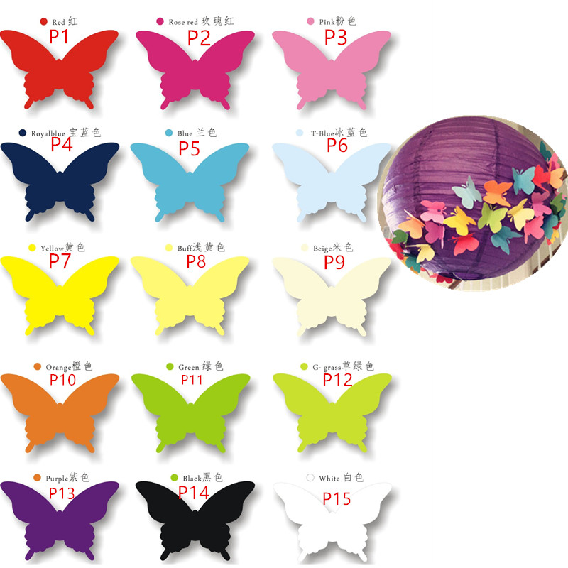 100pcs 15color Laser Cut Vine Butterfly Paper Place Card / Escort Card/Invitation Card For Wedding Party Decoration Home Decor image