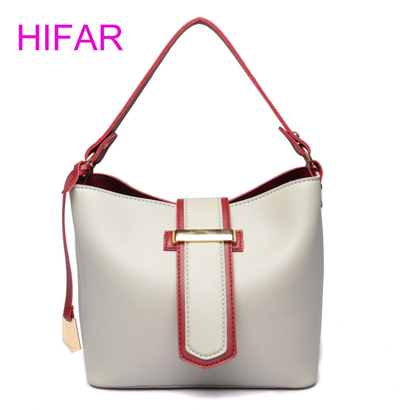 HIFAR Fashion Bags 2018 Women Leather Handbags Bag Crossbody Bag Famous Brand Small Bucket Wide Shoulder Strap White Sac New