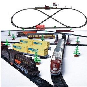 Классический набор в стиле ретро, паровой поезд/современный набор поездов, Электромобиль, игрушки для детей со звуком и светильник