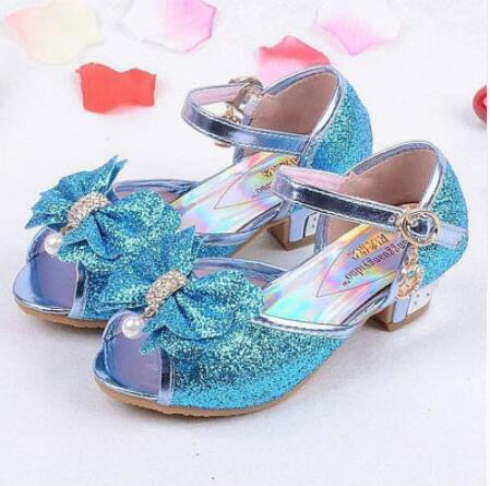 Sequins Girls Princess Shoes Kids Girls Sandals Wedding Party Shoes Ball Dancing Shoes Cinderella Costume Shoes