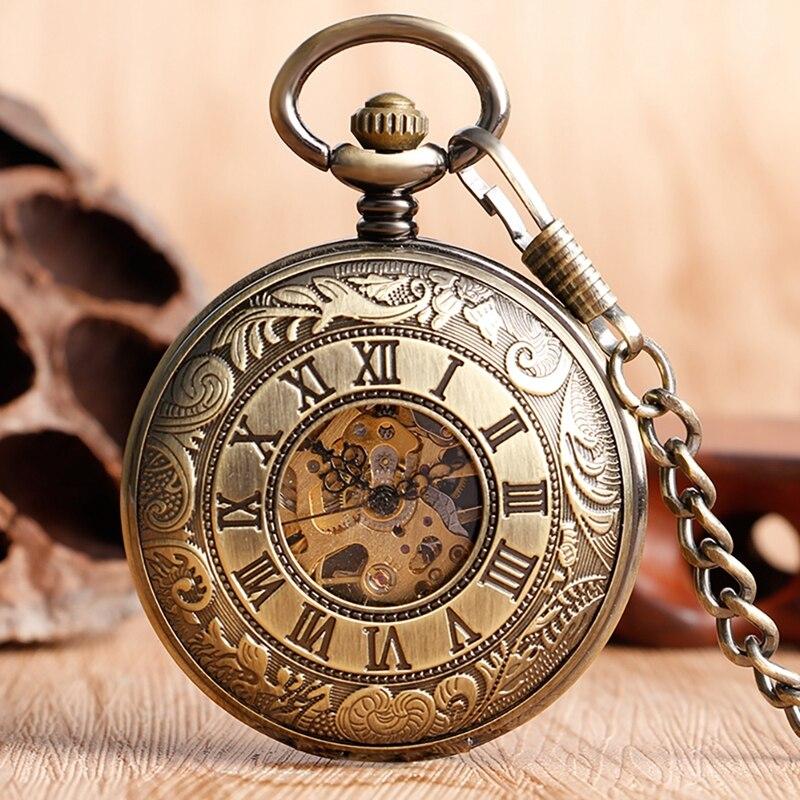 21d0cabdc7c Melhor Relógio Mecânico Vento Mão relógio de Bolso de Bronze Placa Prancha  Padrão Retro Vintage Antique Estilo Wind Up Pingente Fob Cadeia Para Homens  ...