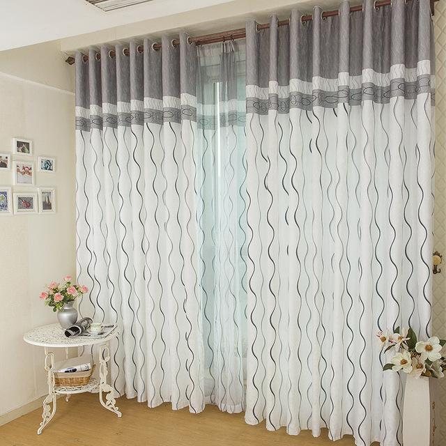Black White Grey Color Wave Stripes Curtains For Study room Living