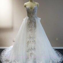 Waulizane Floral Print A-Line Wedding Dresses Handwork