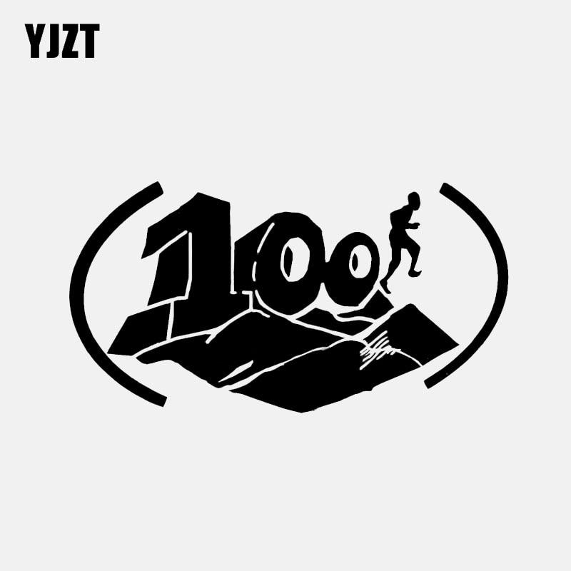 YJZT 14.1*7.4CM 100 Mile Trail Run Finisher Race Across Triathlon Finisher Vinyl Sport Decor Car Sticker Silhouette C12-1560