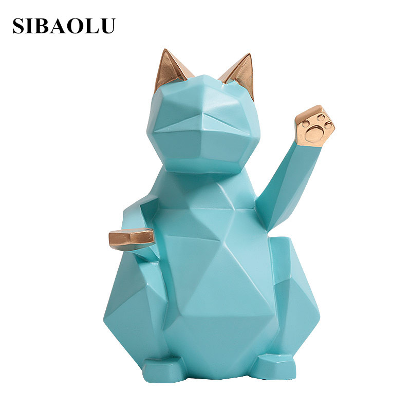 Modern Abstract Black Lucky Cat Sculpture Geometric Resin Animal Statue Home Decor Gift Craft Ornament Accessories Furnishing