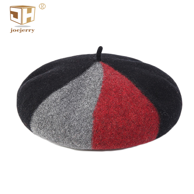 joejerry Colorful French Artist Beret Wool Womens Winter Beret Female Flat  Hat Splicing British Ladies Hats 29d7d684805