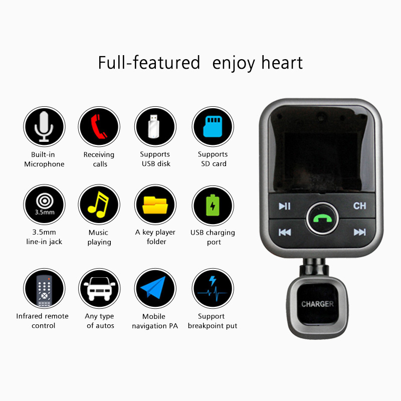 Segsi Bluetooth car charger2 1A Dispaly Bluetooth Car Kit FM Wirelessly Transmitter car charger USB MP3
