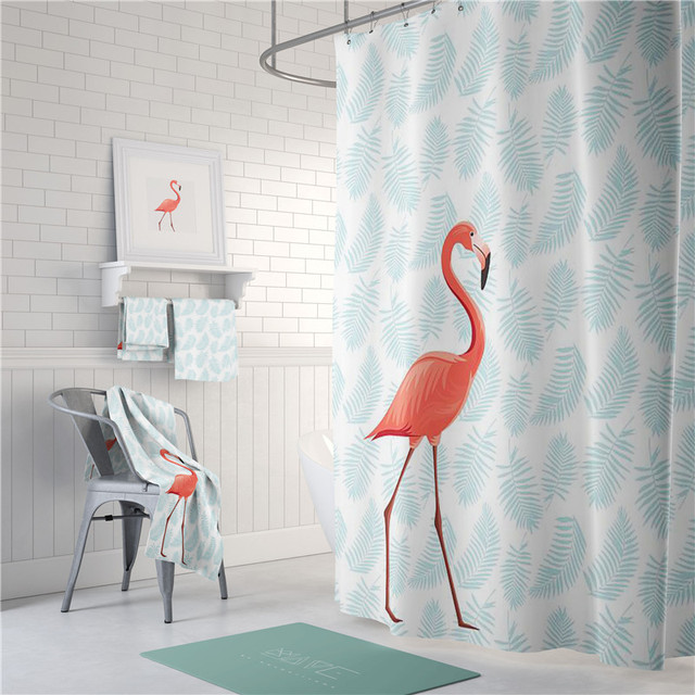 PEVA Eco Friendly Colorful Flamingos Shower Curtain Waterproof Bathroom  Curtain Thicken Mildew Proof Bathroom Partition