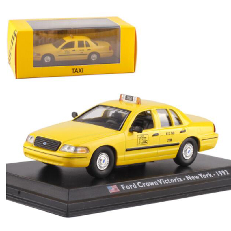 1:43 Scale Metal Alloy Yellow Color Classic NEWYORK 1992 Crown Victoria Taxi Car Model Diecast Vehicles Toys For Collection