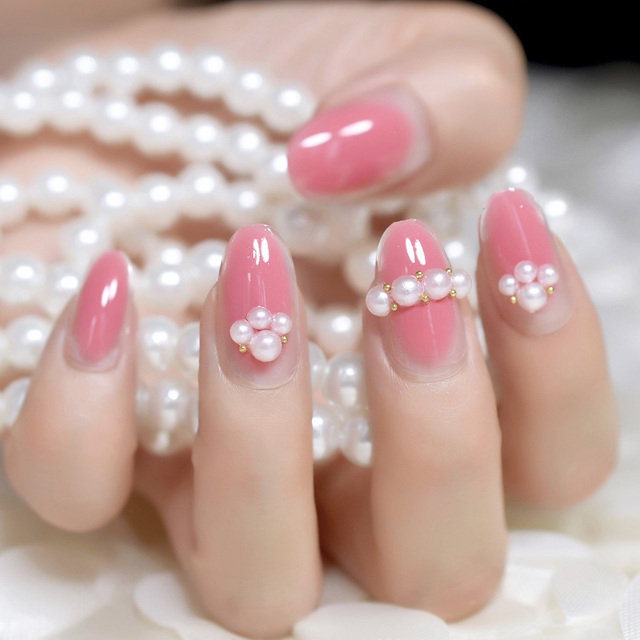 24pcskit Pale Violet Red Acrylic Nail Tips With Pearls Decoration