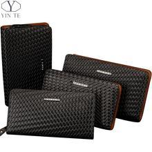 YINTE Men's Clutch Wallets Leather Pressure Woven Bags Zipple Wallet Men Phone Wallet Passport Purse Black Wrist Bags T2028-2