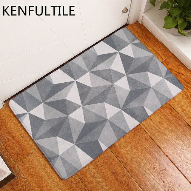 Bath Rug Kitchen Floor Carpet Bathroom Anti Slip Doormat Geometric Plaid Decorative Door Mat For
