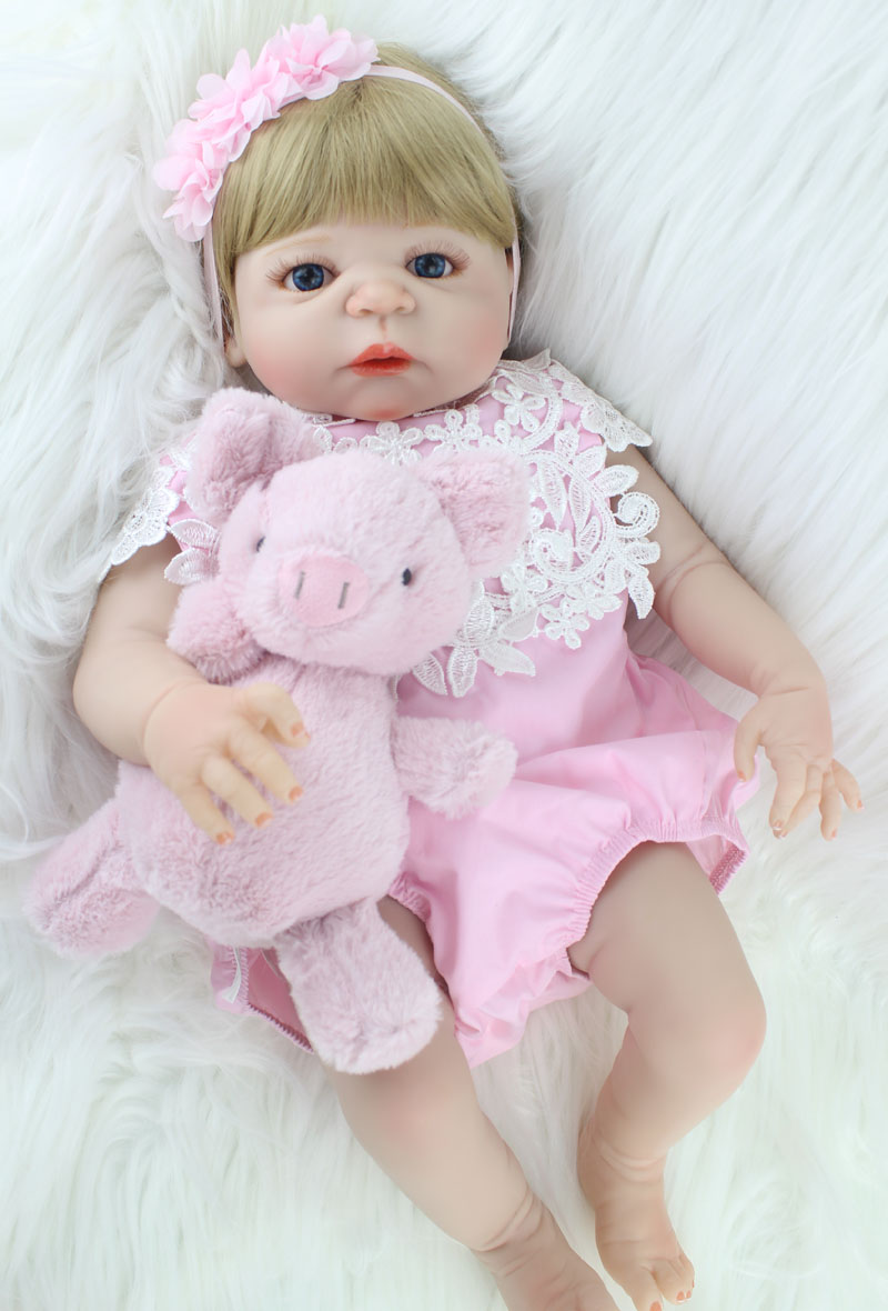NPKCOLLECTION 55cm Full Silicone Body Reborn Girl Baby Doll Toy Lifelike Newborn Princess Babies Doll With Pig Plush Toy Bathe T