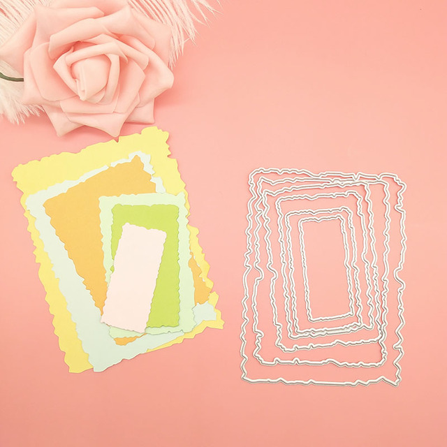 6pcs/Set Vintage Torn Rectangle Frame Metal Cutting Dies for DIY Scrapbooking Photo Album Embossing Paper Cards Decorative Craft