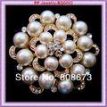 Fantasia KC tom de ouro de cristal Diamante broche de flor mais barato preço de varejo mulheres de roupas de festa broche