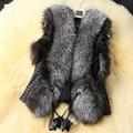 new winter grass PU leather stitching imitation fox fur vest jacket collar Nagymaros large size women wild S-XXXXXL
