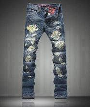 Горячие продажи Новый Дизайнер Мужчин Slim Джинсы Мода Бисером Джинсовые Брюки