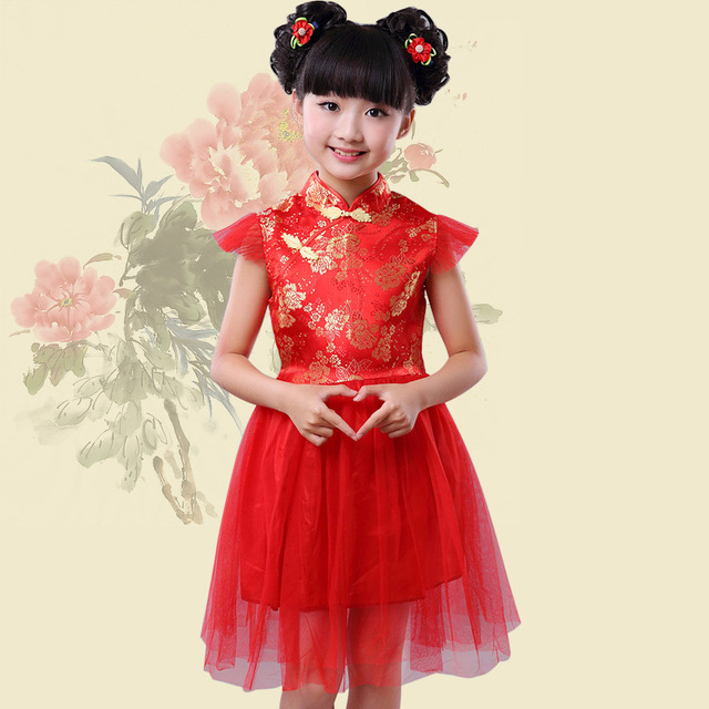 Christmas Traditional Chinese Satin Embroidery Flower Girls Dresses Party Wedding Princess Kids Dress Childrens Clothing