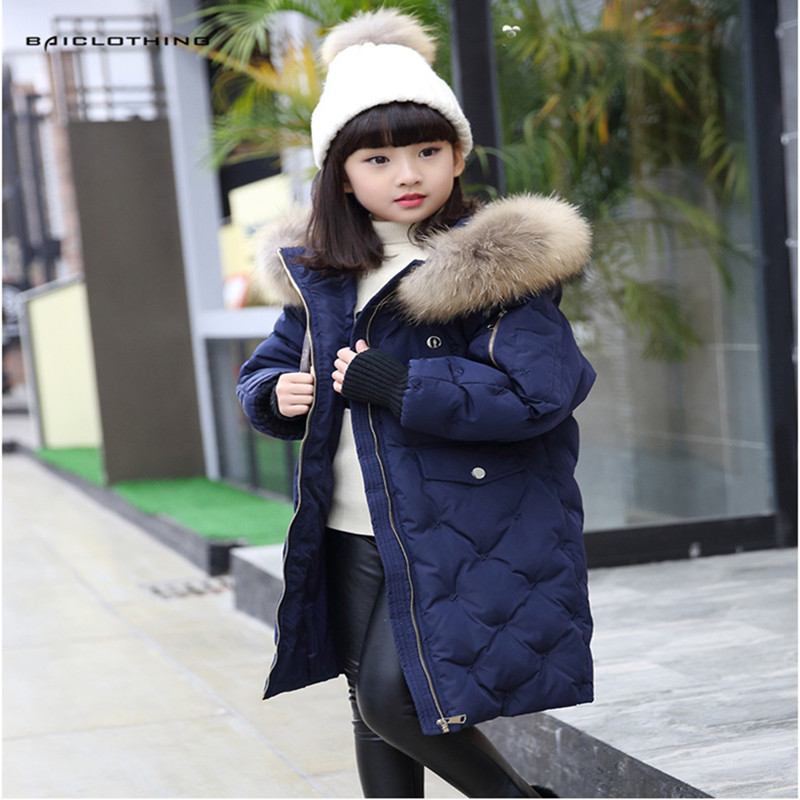 2017 Warm Raccoon Fur Down Jacket For Girl Children Cold Winter Jackets Boys Thick Long Coat Children Girls Clothes -20-30degree fashion 2017 girl s down jackets winter russia baby coats thick duck warm jacket for girls boys children outerwears 30 degree
