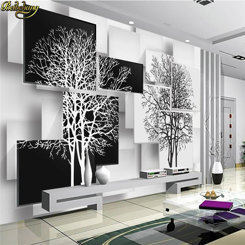 beibehang papel de parede 3d Custom Photo Wallpaper Mural Simple Black and White Big Tree 3D TV Wall wall papers home decor リビング シャンデリア