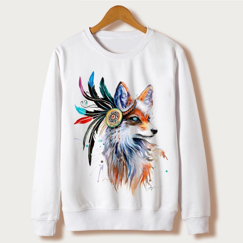 Harajuku Fox Fashion 2017 Clothing Women Hoodies Sweatshirts Full Sleeve O-neck Animal Print Moletom Feminino sudaderas mujer