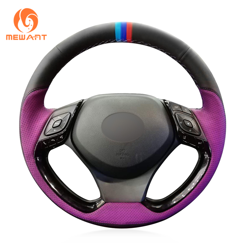 MEWANT Custom Purple Perforated Black Leather With Marker 3D Car Steering Wheel Wrap Cover for Toyota C-HR CHR 2018 2019