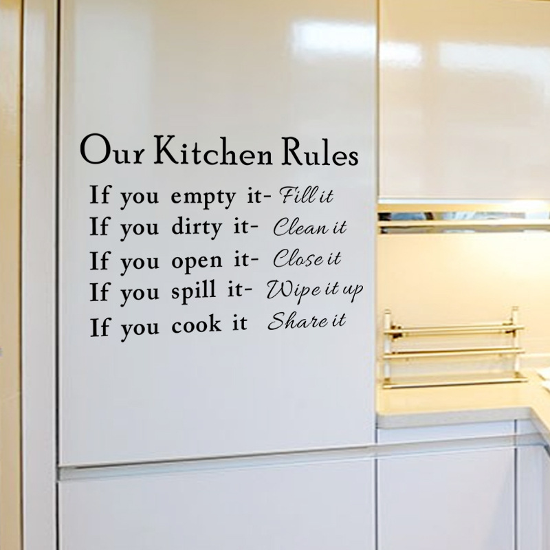 English Letters Our Kitchen Rules Wall Sticker Vinyl Decal Home Paper Art Picture DIY Murals Removable