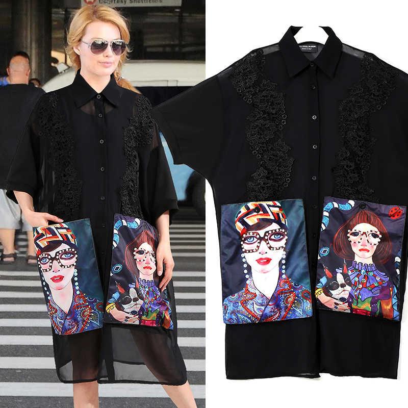 Женское шифоновое платье-рубашка, повседневное черное платье-рубашка большого размера с мультяшным принтом на карманах, полурукавами, клубное платье средней длины, модель 3456 на лето, 2019