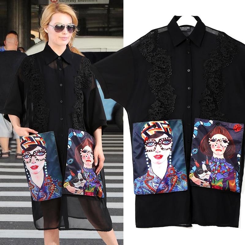 2019 Women Summer Black Casual Chiffon Shirt Dress Cartoon Pockets Half Sleeve Plus Size Female Midi Party Club Dress Robe 3456