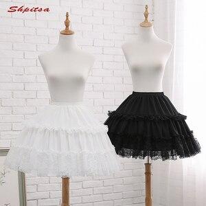 Image 1 - שחור או לבן 2 חישוקי קצר תחתוניות לחתונה לוליטה אישה ילדה תחתוניות קרינולינה פלאפי Pettycoat חישוק חצאית