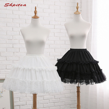 Black or White 2 Hoops Short Petticoats for Wedding Lolita Woman Girl Underskirt Crinoline Fluffy Pettycoat Hoop Skirt