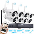 ZOSI 960P Auto-Pair Wireless System  8CH 960P Wifi NVR with 8* 1.3P 960P 100ft Night Vision Waterproof IP66 Bullet Camera