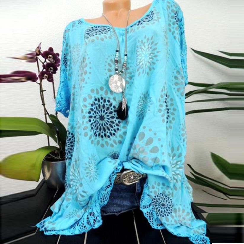 Plus Size S-5XL Tops Summer Lace Women Blouse Patchwork Floral Printed Batwing Short Sleeve Shirt 2018 Tunic Blusas Feminina#ghc 2
