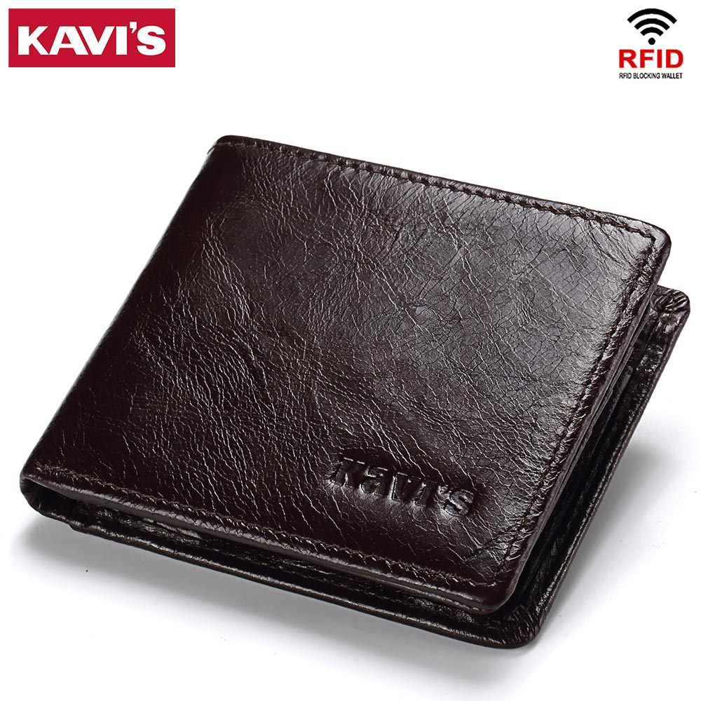 KAVIS Rfid High Quality 100% Genuine Leather Wallet Men Coin Purse Portomonee PORTFOLIO Card Holder Male Cuzdan Perse Small and kavis 100