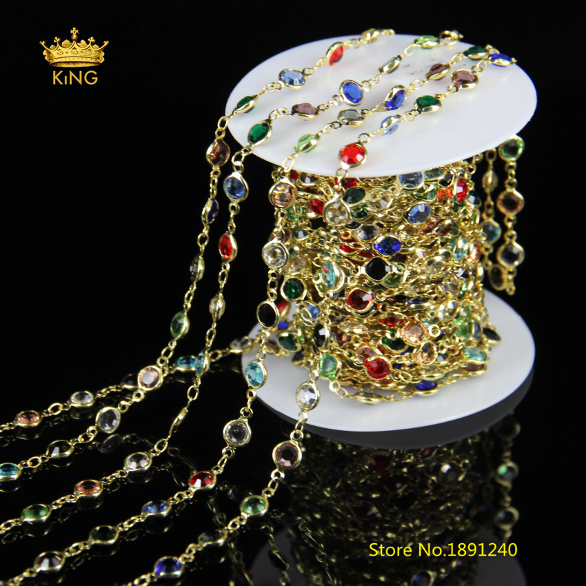 5meters 6mm Faceted Coin Glass Beaded Chains Jewelry,Wire Wrapped Colorful Glass Plated Gold Copper Links Rosary Chain Bulk JH08 5meters 6mm cross gold copper wire wrapped multi color turquoises round howlite rosary chains crafts bracelet necklace bulk bh12