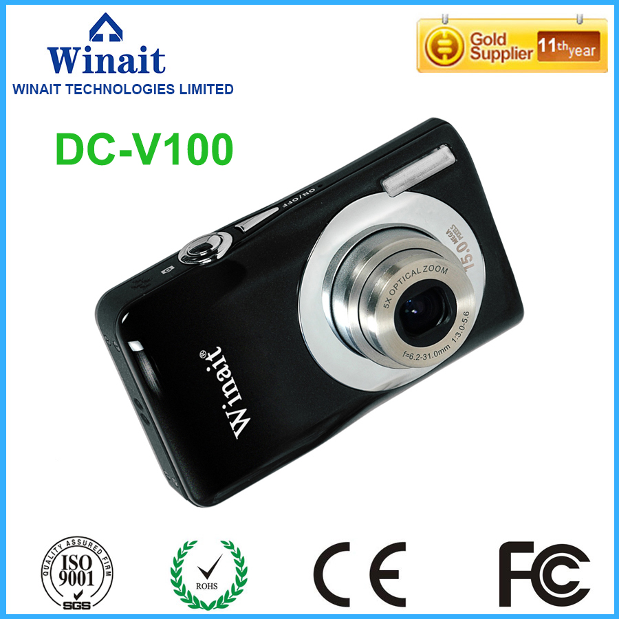 5X Optical Zoom Professional Digital Camera DC-V100 15MP 2.7 VGA 640*480 Digital Compact Camera PC Cam Face&Smile Detection