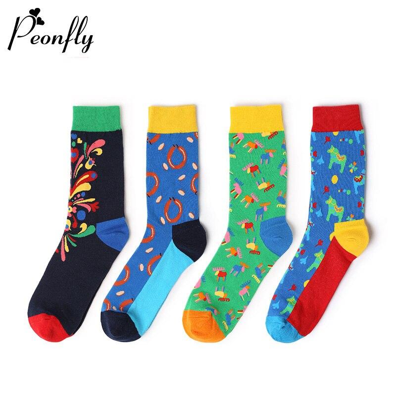 PEONFLY 4 pair/lot Happy Socks Oil Painting Combed Cotton Brand Harajuku Men Socks Colorful Dress knit Crew Long Funny Socks