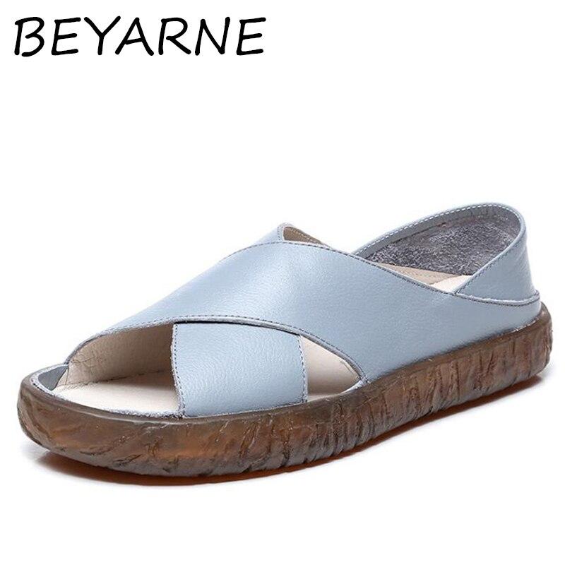8289b3885958da Sandalia Souple Lumière E146 Beyarne Véritable Cuir De blanc Chaussures  Plage Feminina Bleu D'été Qualité ...