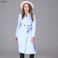 OLN Women S Fashion Europe Trench Coat Female Sky Blue Long Sleeves With Belt For Autumn
