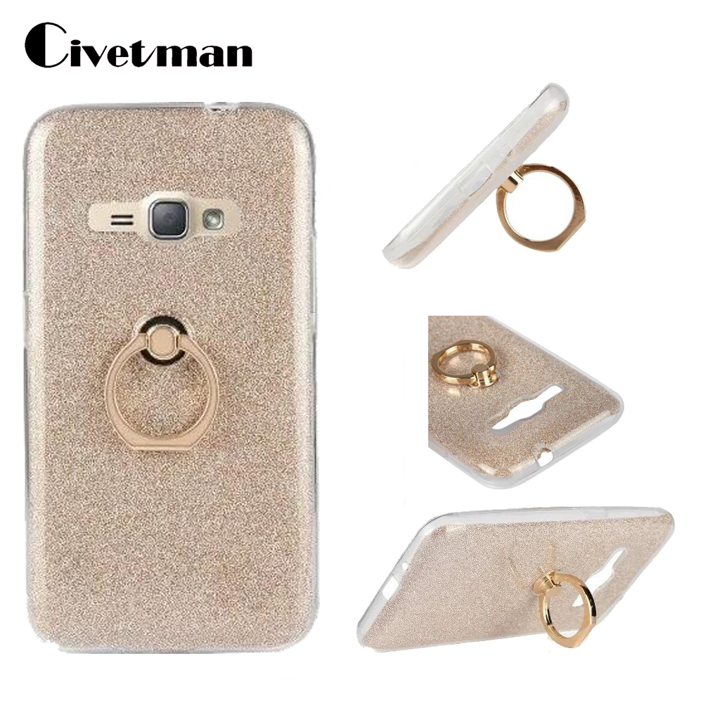 Cover Phone <font><b>Case</b></font> <font><b>For</b></font> <font><b>Samsung</b></font> <font><b>Galaxy</b></font> J1 2016 Duos J120 <font><b>J120F</b></font> J120H TPU Silicone Transparent Shell Flash Glitter Powder Ring Stand image