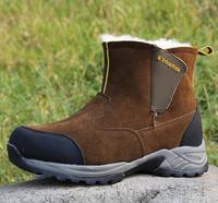 AMSHCA/зимние ботинки для русской зимы, мужские армейские ботинки на меху, мужские военные ботинки без шнуровки, повседневная шерстяная обувь