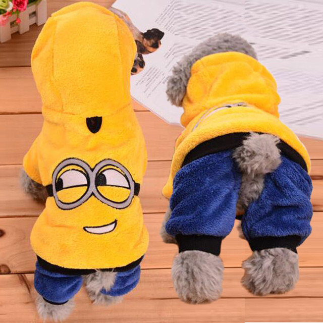 Winter Dog Clothes Puppy Coats Outfit Funny Minion Costumes Puppy Jacket Soft Fleece Warm Autumn Pet Apparel Ropa de Cachorro 35