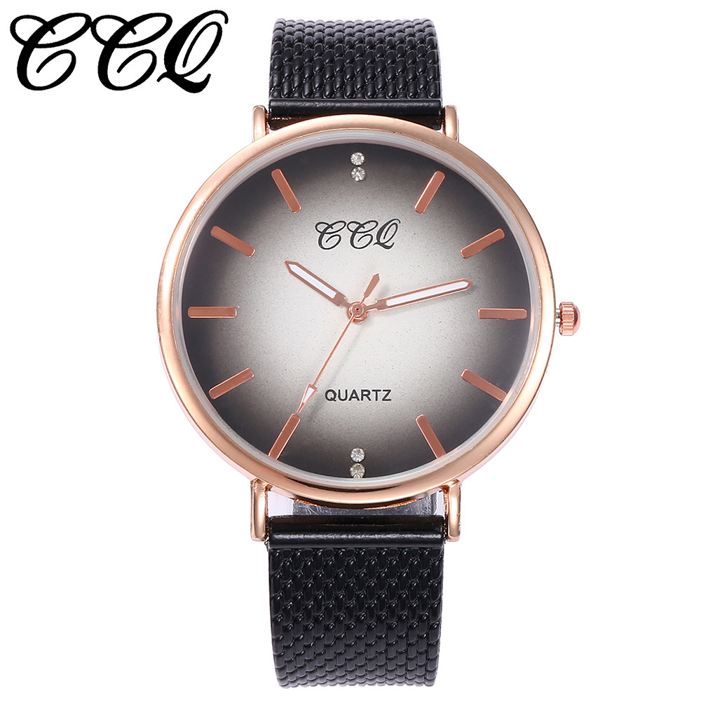 CCQ Brand Women Watch Rose Gold Casual Quartz Watch Clock Female Plastic Leather Band Watch Analog Wrist Watch Relogio Feminino