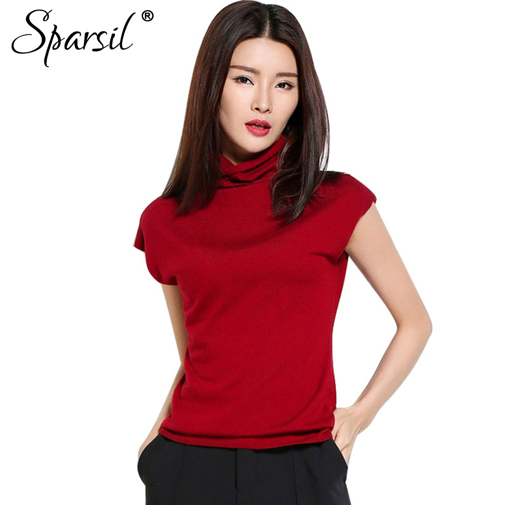 Sparsil verano de las nuevas mujeres suéteres de cuello de volantes de manga cor