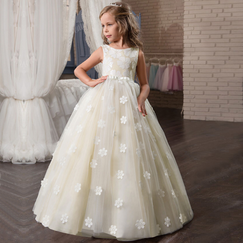 Hot Sale Fancy Flower Long Prom Gowns Teenagers Dresses For Girl